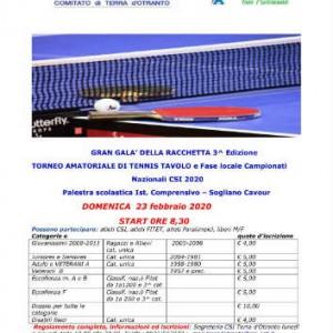 locandina torneo ttl csi 23 febbraio 2020